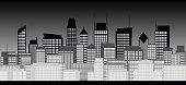 City skyline in black and white