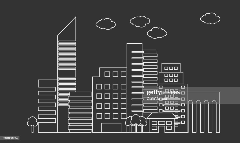 City skyline linear design. Cityscape line art vector. Outline skyscrapers.