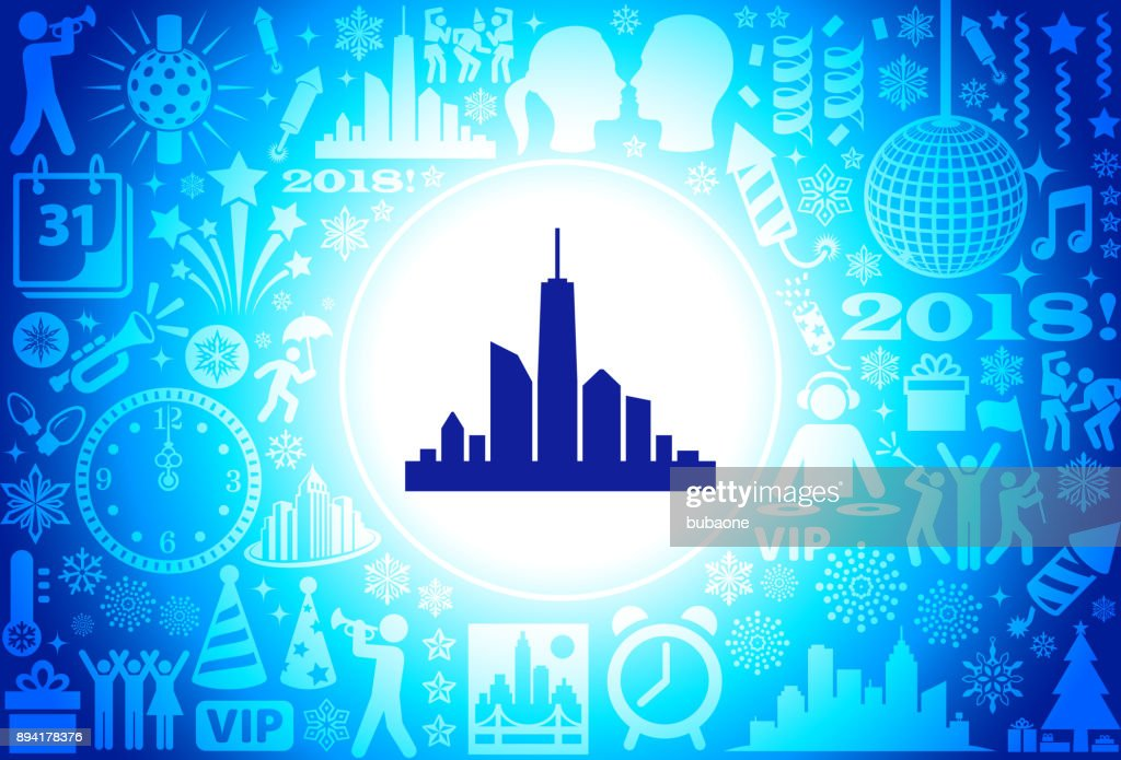 city skyline new year holiday background pattern vector art