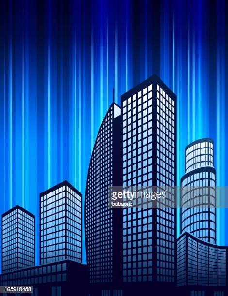 City skyline panoramic and Buildings on Blue Light Background