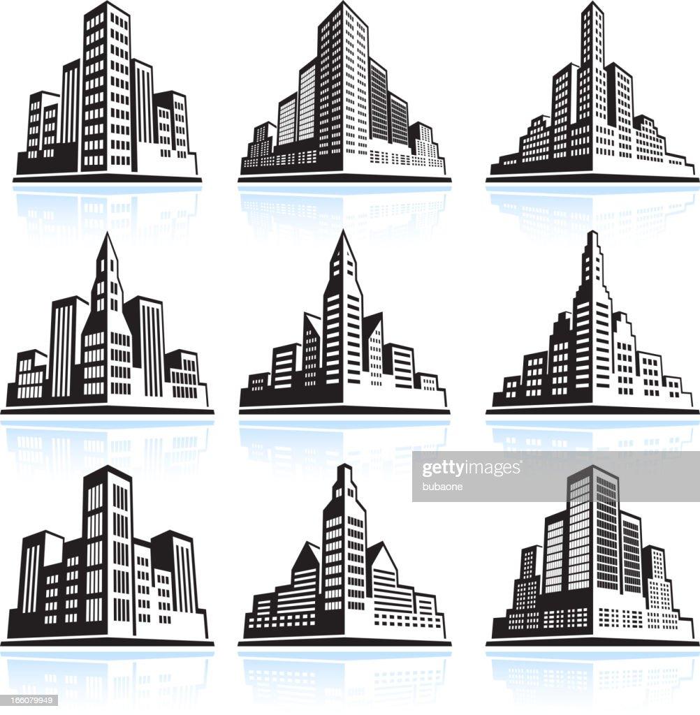 City skyline panoramic vector icon set