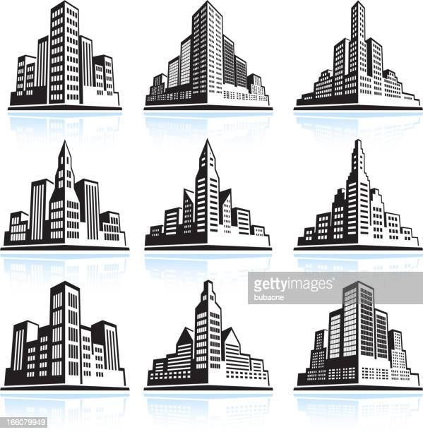 city skyline panoramic vector icon set - skyscraper stock illustrations