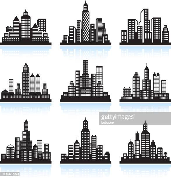 city skyline panoramic with buildings vector icon set - chrysler building stock illustrations, clip art, cartoons, & icons