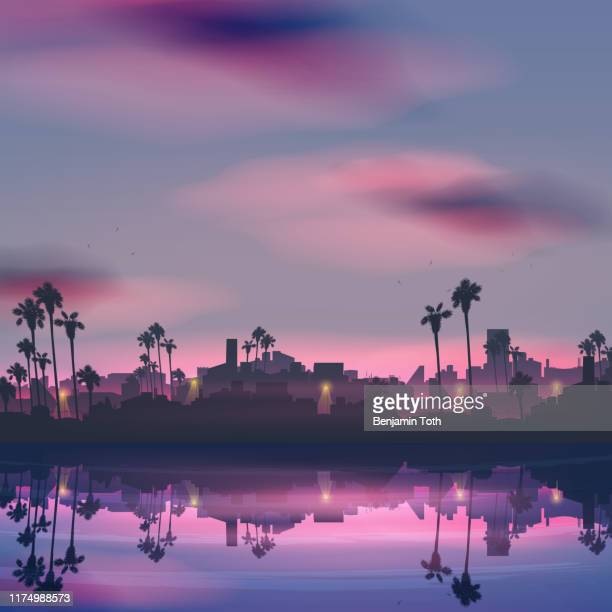 stockillustraties, clipart, cartoons en iconen met city skyline reflectie in zee landschap met palmboom 's nachts - verblijfsoord