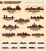 City skyline set. 10 city silhouettes of USA #4
