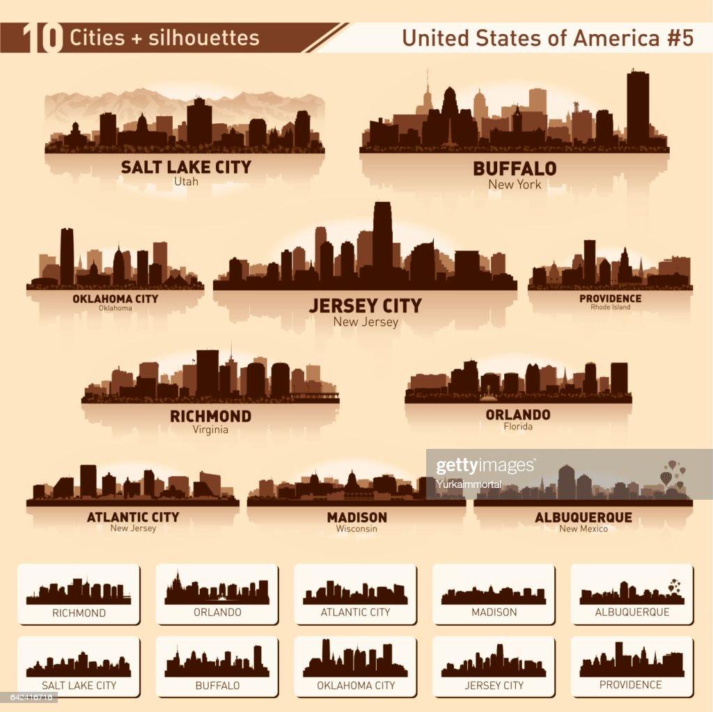 City skyline set. 10 city silhouettes of USA #5