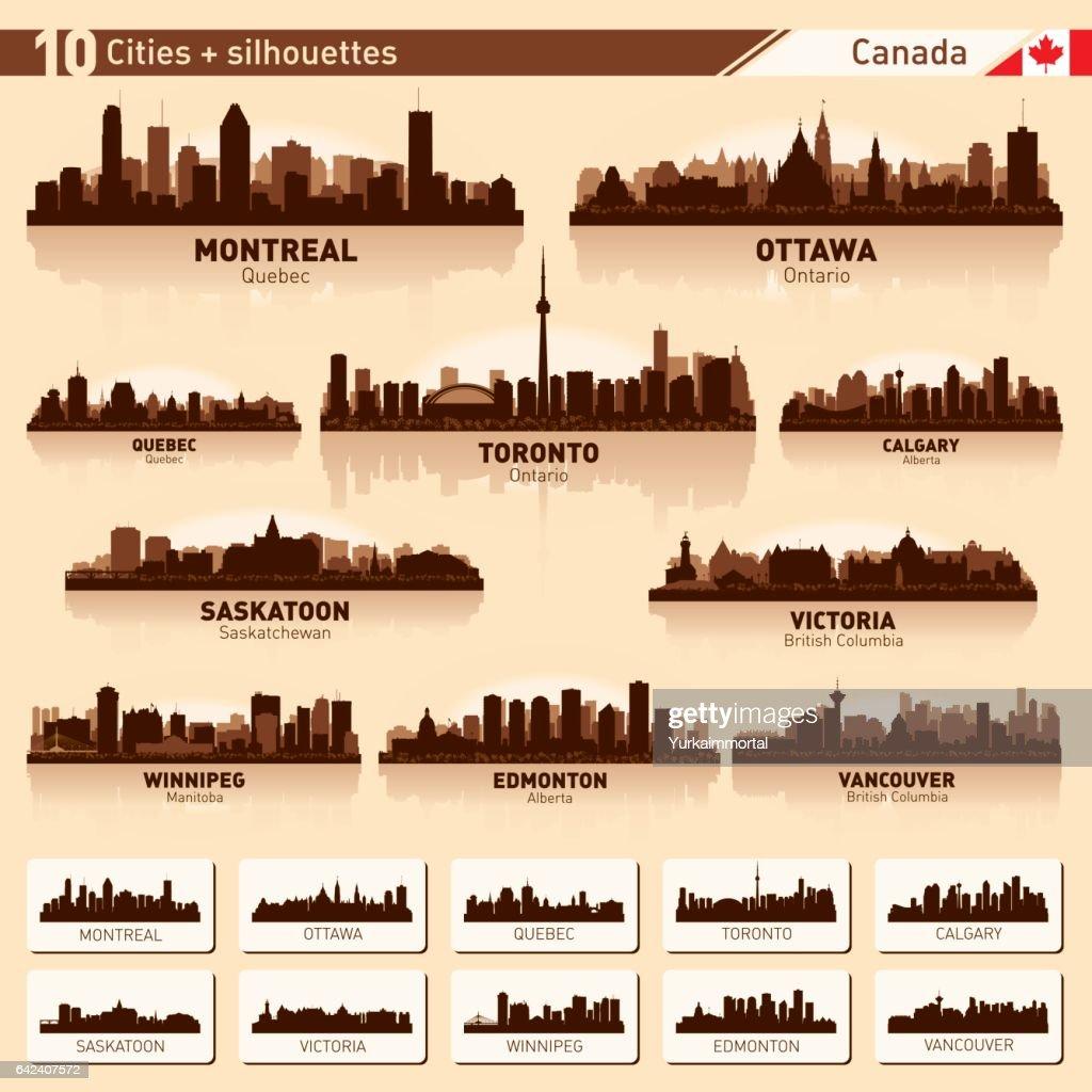 City skyline set 10 vector silhouettes of Canada #1