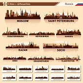 City skyline set 10 vector silhouettes of Russia
