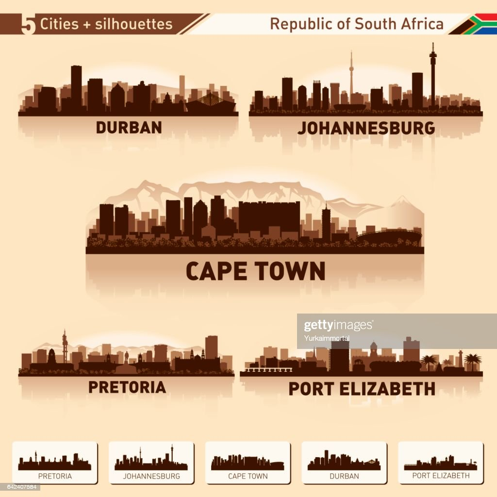 City skyline set 10 vector silhouettes of South Africa