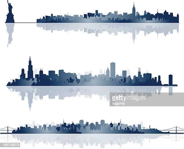 city skyline silhouettes - san francisco california stock illustrations
