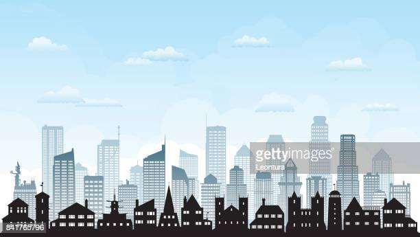 city skyline (all buildings are complete and moveable) - generic description stock illustrations, clip art, cartoons, & icons