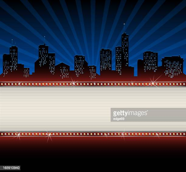 city skyline with banner - illuminated stock illustrations