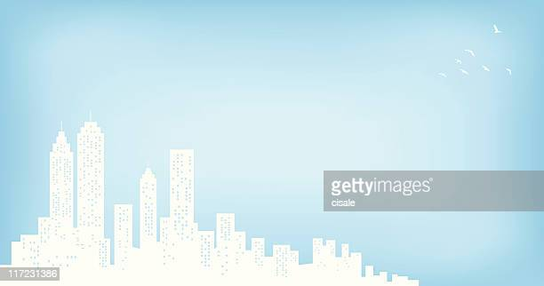 city skyline with blue sky and copyspace silhouette - wall street stock illustrations