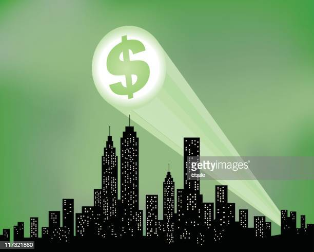 city skyline with dollar sign silhouette illustration - recessed lighting stock illustrations