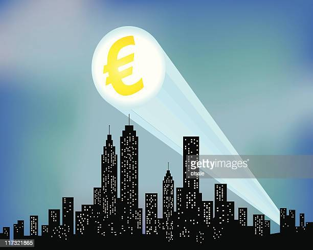 City Skyline with euro sign silhouette illustration