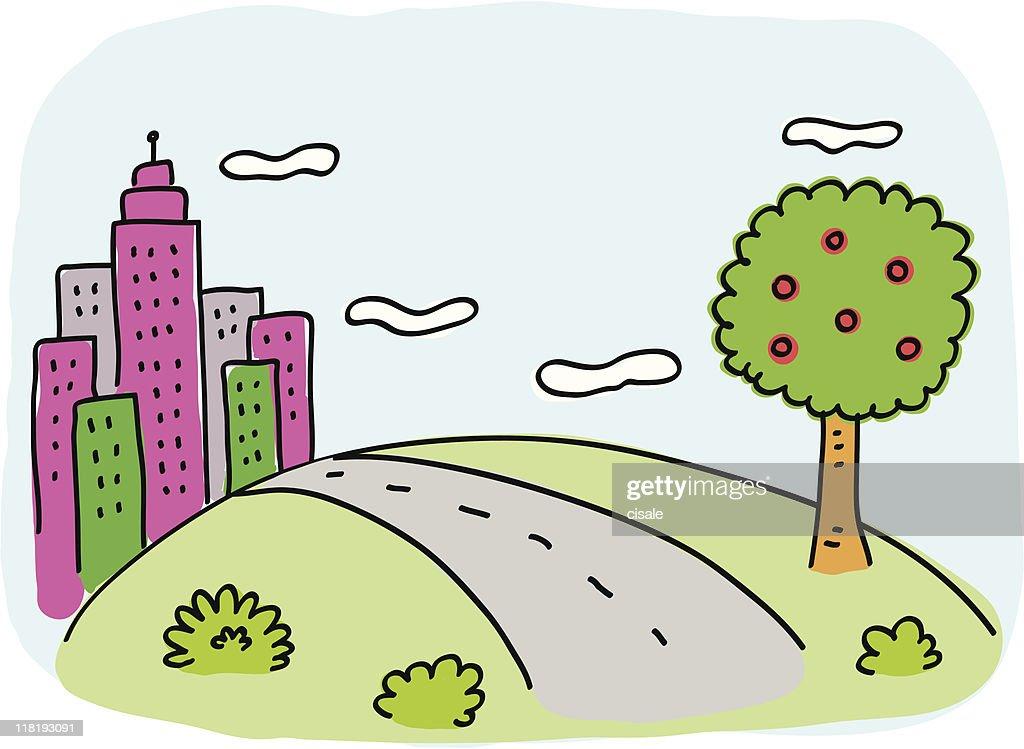 La ville avec vert nature des arbres et de la route dessin - Dessin de route ...