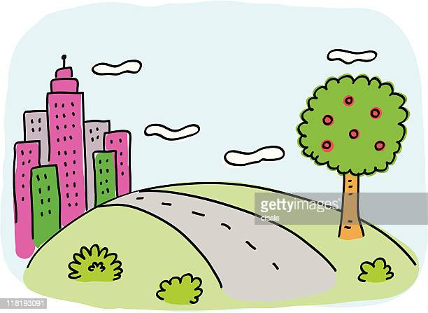 City Skyline with green nature, tree and road cartoon