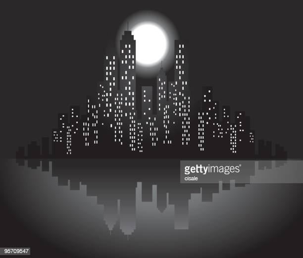 city skyline with moon,stars at night silhouette illustration - power outage stock illustrations, clip art, cartoons, & icons
