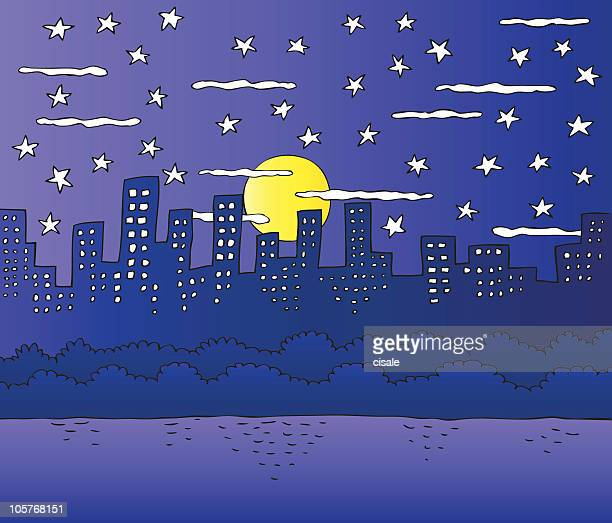 City Skyline with Park and Pond at Night cartoon