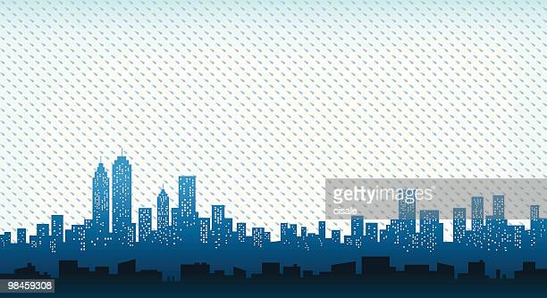 City Skyline with rain at fall, winter illustration silhouette
