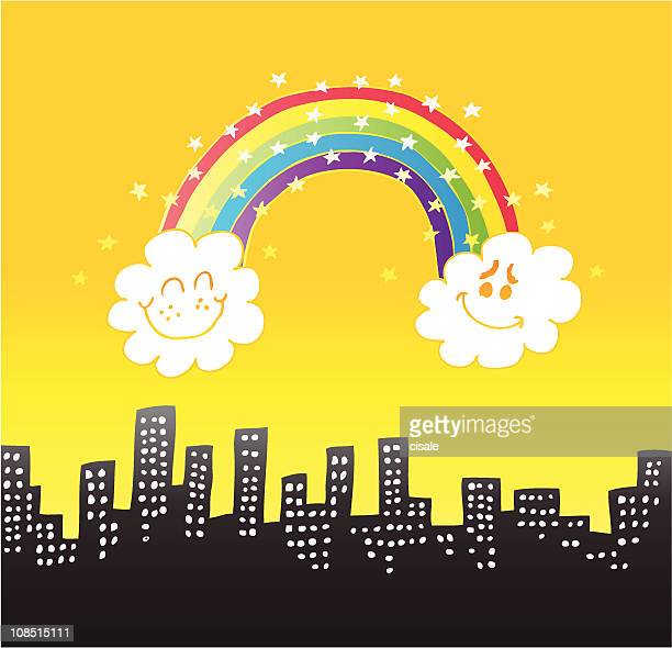 City Skyline with rainbow,stars, clouds cartoon at day time