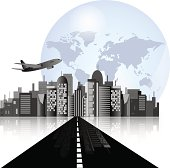 City skyline with road, airplane and earth background