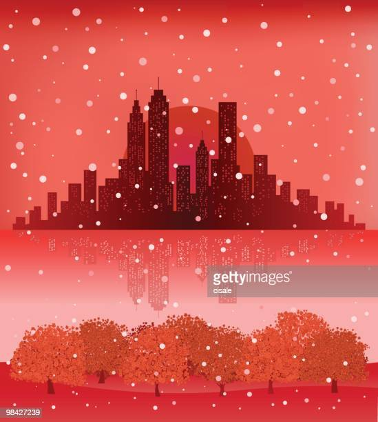 City Skyline with snowing sky,nature at Christmas new year