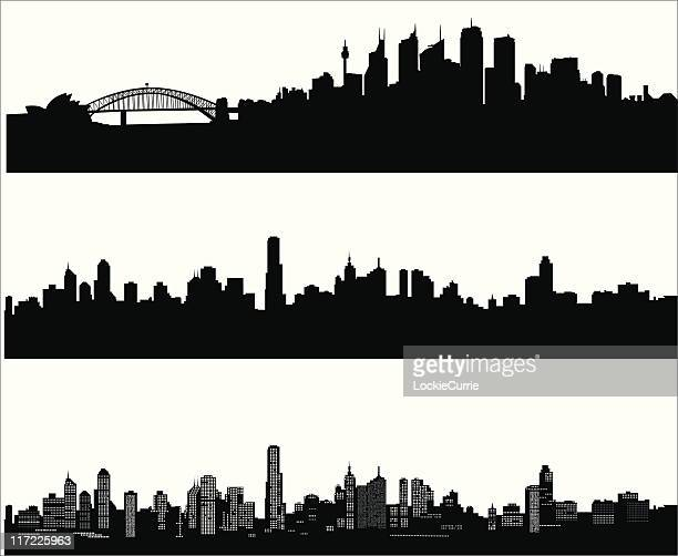 city skylines - cityscape stock illustrations