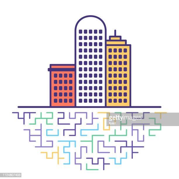 city skyscrapers flat line icon illustration - high street stock illustrations