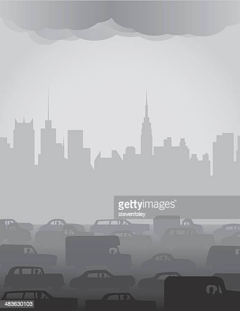 city smog or fog - compact car stock illustrations, clip art, cartoons, & icons