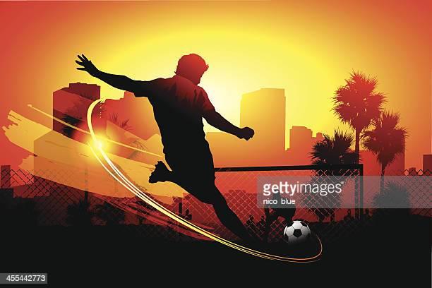 ilustraciones, imágenes clip art, dibujos animados e iconos de stock de city de fútbol - hacer un gol