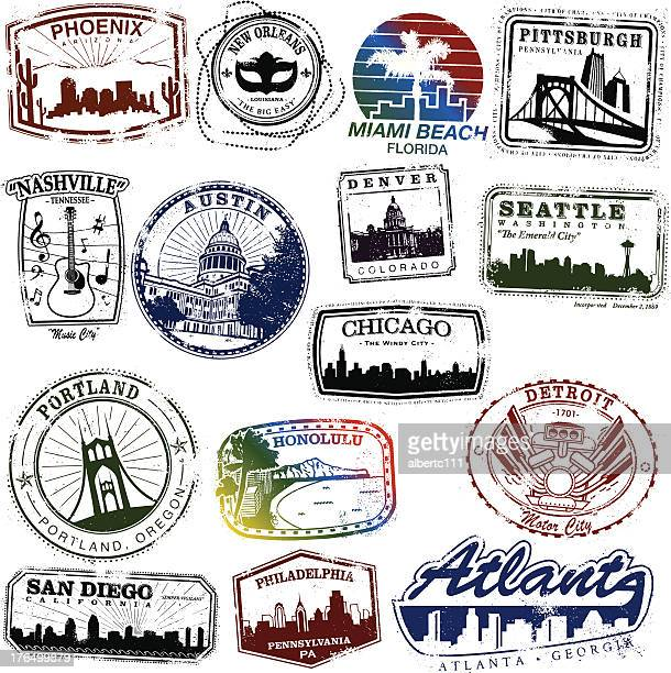 us city stamps - southwest usa stock illustrations, clip art, cartoons, & icons