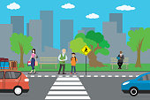 City street and road,cartoon people go and stand,urban life conc