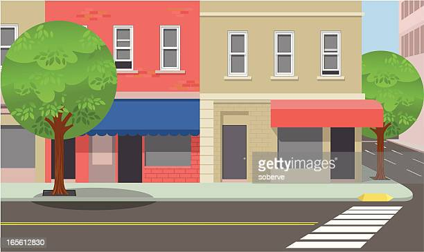 stockillustraties, clipart, cartoons en iconen met city street corner - stadsstraat