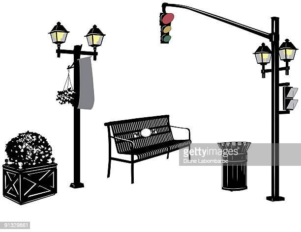 City Street Elements - Lightpost,Streetlight,Bench and Garbage Can