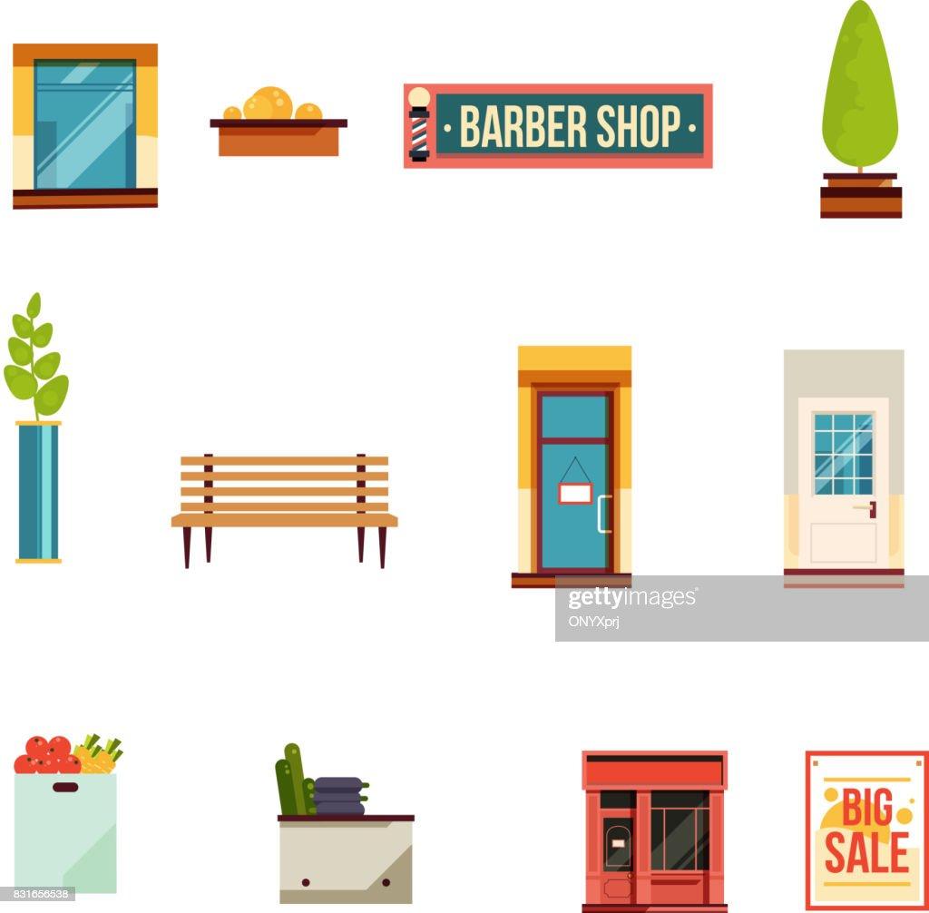 City street icons set, flat style