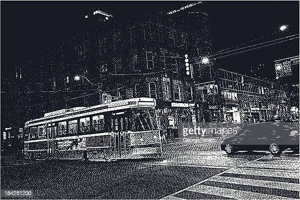 city street nightime - zebra crossing stock illustrations