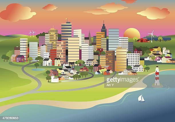illustrations, cliparts, dessins animés et icônes de la ville au lever du soleil - village