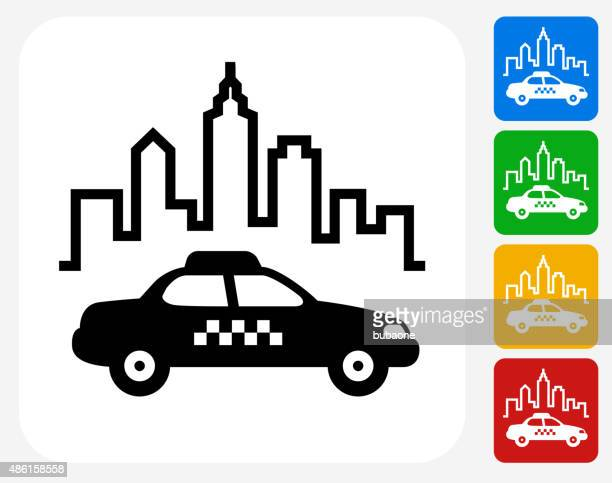 city taxi icon flat graphic design - taxi stock illustrations, clip art, cartoons, & icons