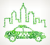 City Taxi Nature and Environmental Conservation Icon Pattern