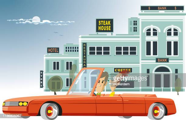 city tour by car - car ownership stock illustrations, clip art, cartoons, & icons
