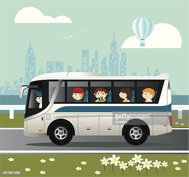 city tour - bus stock illustrations