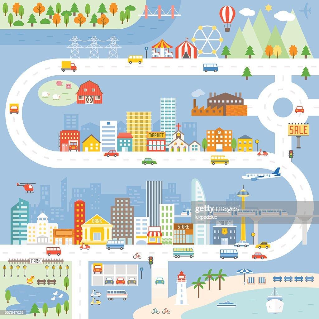 City, Town, Village info graphic, Vector illustration.