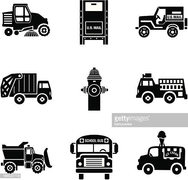 city traffic 02 - street sweeper stock illustrations