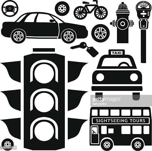 city traffic design elements - tire vehicle part stock illustrations, clip art, cartoons, & icons