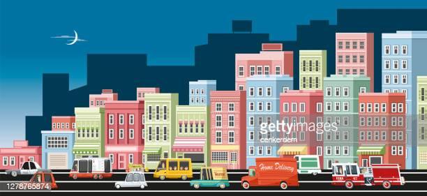 都市交通 - フラットデザイン 街点のイラスト素材/クリップアート素材/マンガ素材/アイコン素材