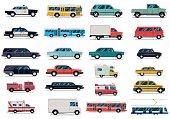 City transport set. Flat design vector illustration isolated on white background