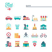 City, transportation, culture, shopping and more, flat icons set