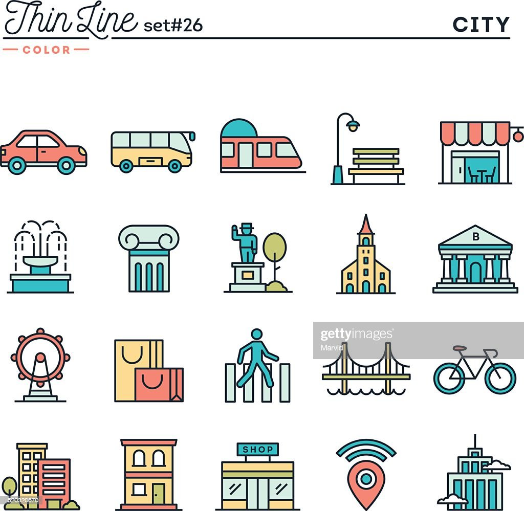 City, transportation, culture, shopping and more, thin line color icons
