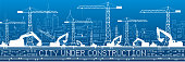 City under construction illustration. Development panorama, industrial landscape, building cranes, excavators, vector lines design art